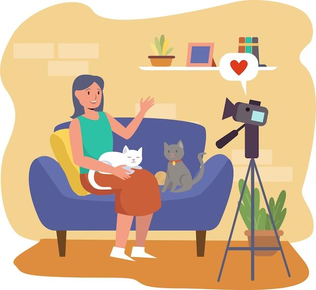 Kobieta Vlogger Robi Vlog Na Temat Zwierząt Domowych Premium Wektorów