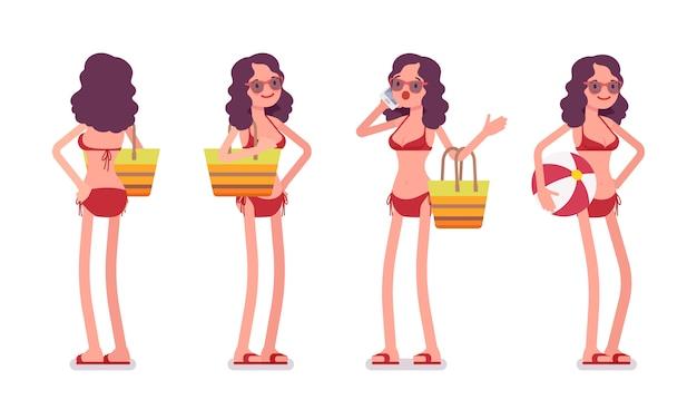 Kobieta w bikini, stojący poza