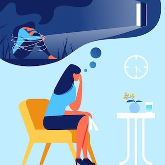 Kobieta w biurze psycholog. out of depression.