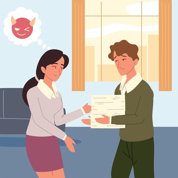 Kobieta w biurze z mężczyzną pracownika