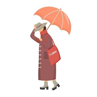 Kobieta w brązowym płaszczu bez twarzy w płaskim kolorze. chodząca kaukaska dama. deszczowy dzień. modna pani na obcasach. kobieta z parasolem na białym tle ilustracja kreskówka na białym tle
