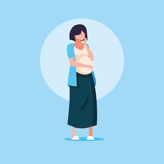Kobieta w ciąży avatar postaci ikony wektor ilustruje
