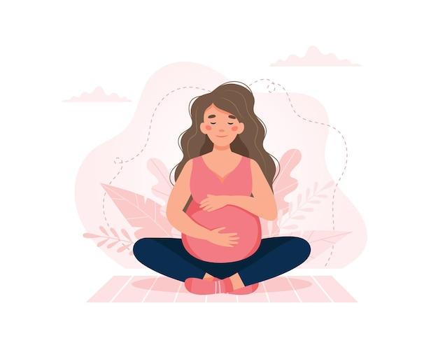 Kobieta w ciąży, koncepcja w stylu kreskówka