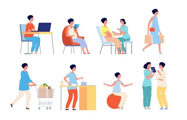 Kobieta w ciąży. lekarz badający, ciąża kobiety życie codzienne, odżywianie dieta przyszłej mamy. ilustracja wektorowa piękne macierzyństwo. badanie ciąży u lekarza, pacjentki w ciąży