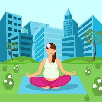 Kobieta w ciąży medytuje na natury ilustraci