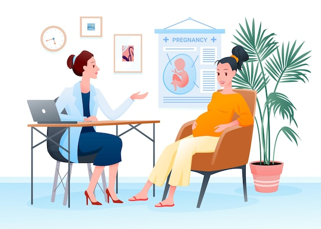 Kobieta w ciąży na ilustracji powołania lekarzy.