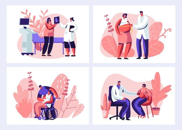 Kobieta w ciąży na wizytę u lekarza w zestawie kliniki. płaskie ilustracja kreskówka