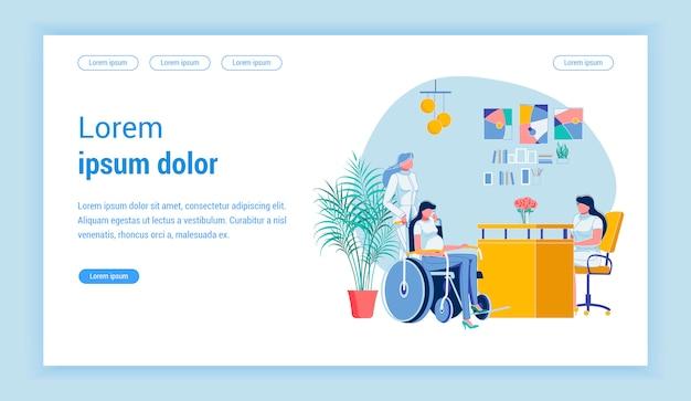 Kobieta w ciąży na wózku inwalidzkim w biurze lekarzy