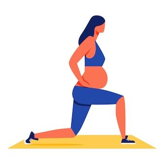 Kobieta w ciąży robi fitness na białym tle.