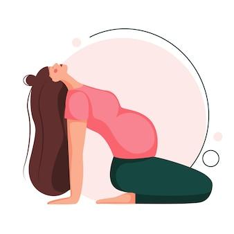Kobieta w ciąży robi joga. ćwiczenia prenatalne. piękna kobieta w ciąży siedzi w asanie. w postaci z kreskówki płaskiej na białym tle.