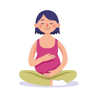 Kobieta w ciąży robi joga i relaks, związane z dzieckiem