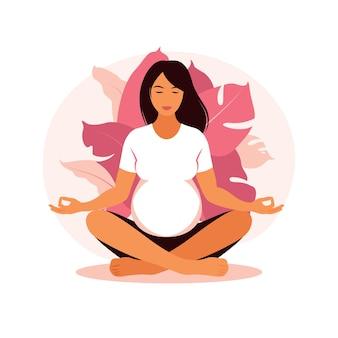 Kobieta w ciąży sprawia, że joga i medytacja. pojęcie ciąży, macierzyństwa, opieki zdrowotnej. ilustracja w stylu płaski.