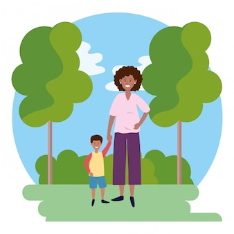 Kobieta w ciąży z dzieckiem okrągłe ikona