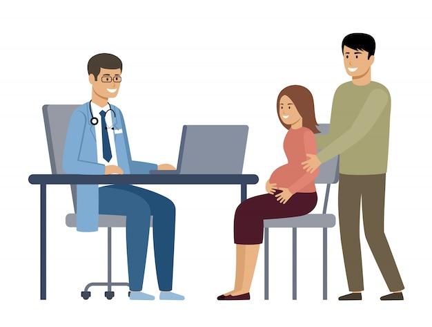 Kobieta w ciąży z mężem na konsultacji lekarskiej