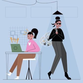 Kobieta w ciemnych ubraniach kradnąca pomysły