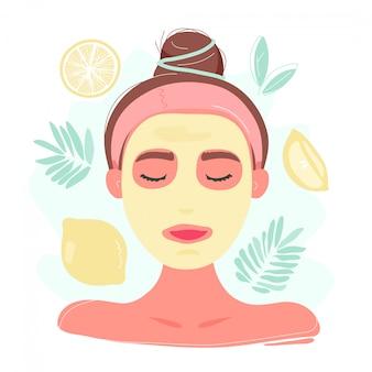 Kobieta w cytryny maseczka na twarz