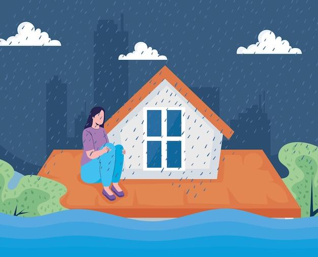 Kobieta w dachu