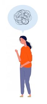 Kobieta w depresji. kobieta stojąca z nieszczęśliwym umysłem niechlujny stres depresja czuje pojęcie