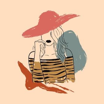 Kobieta w eleganckim stylu sztuki linii