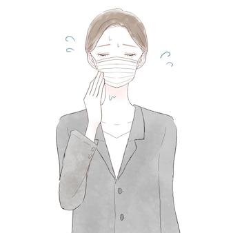 Kobieta w garniturze cierpiąca na parowanie z powodu noszenia maski. na białym tle.