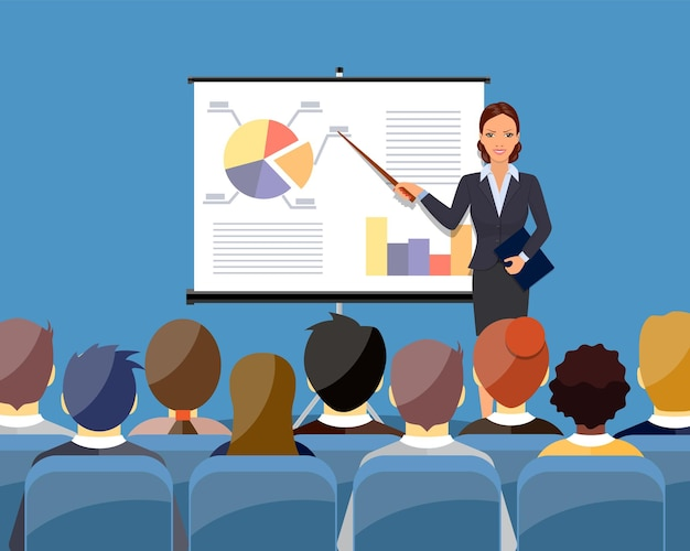 Kobieta w garniturze i krawacie dokonywanie prezentacji wyjaśniającej wykresy na białej tablicy. seminarium biznesowe. ilustracja wektorowa płaski