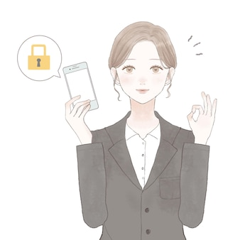 Kobieta w garniturze ze smartfonem ze środkami bezpieczeństwa. na białym tle.