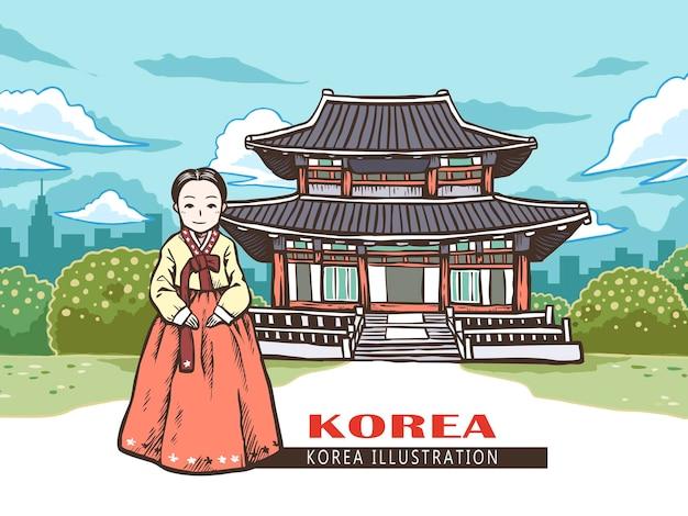 Kobieta w hanboku robi zdjęcie przed gyeongbokgung