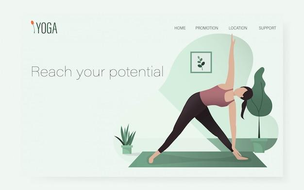 Kobieta w jodze stanowi pozycję w szablonie strony ui / ux. zdrowy sport w domu