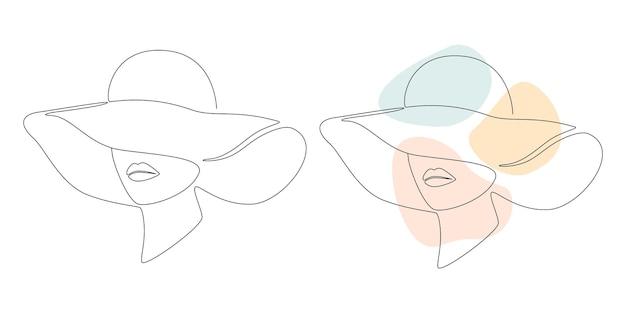 Kobieta w kapeluszu ciągły rysunek linii z abstrakcyjnym pastelowym kształtem
