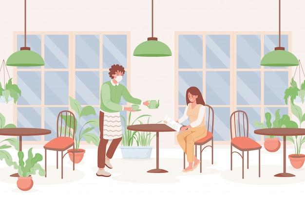 Kobieta w kawiarni płaskiej ilustracji. kelner w masce trzyma filiżankę herbaty i imbryk, kobieta w menu czytania maski oddechowej lub gazetę. środki zapobiegawcze i nowe normalne po wybuchu koronawirusa.