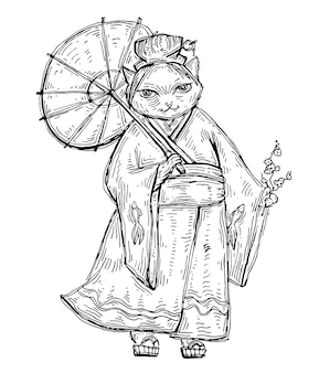 Kobieta w kimonie z parasolem. ilustracja kreskówka płaski kolor.
