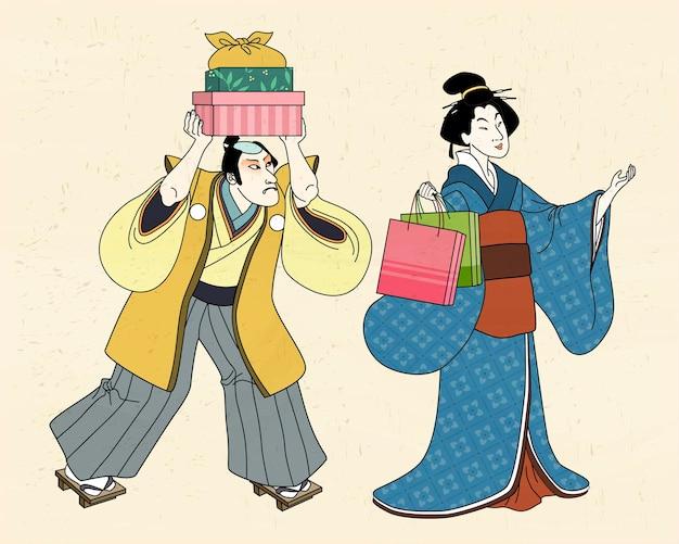 Kobieta W Kimono Robi Zakupy Ze Swoim Służącym, Styl Ukiyo-e Premium Wektorów