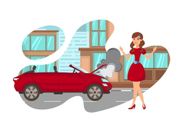 Kobieta w kłopocie na drogi odosobnionej ilustraci