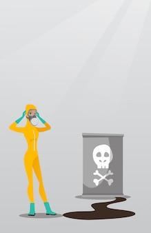 Kobieta w kostiumie ochronnym przed promieniowaniem.