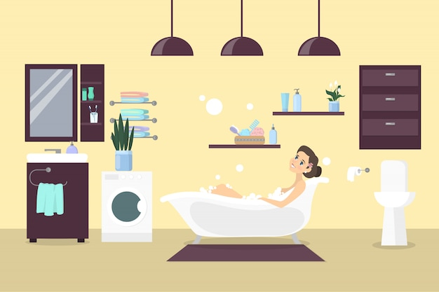 Kobieta w łazience relaksując się w wannie. wnętrze łazienki z lustrem i umywalką.
