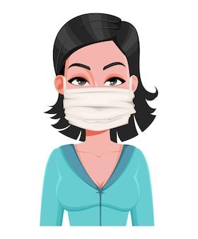 Kobieta w masce medycznej. nowy koronawirus 2019-ncov