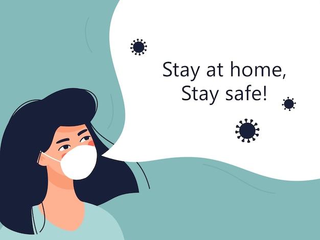 Kobieta w medycznej masce i sms-ie zostań w domu, bądź bezpieczny!