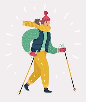 Kobieta w nordic walking