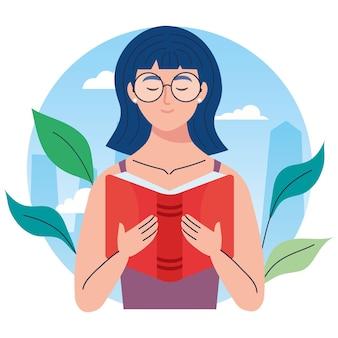 Kobieta w okularach, czytanie książki tekstowej z charakterem liści