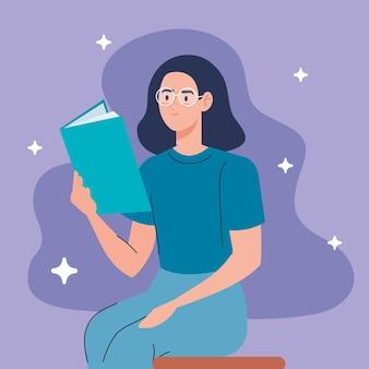 Kobieta w okularach, czytanie tekstu książki w pozycji siedzącej