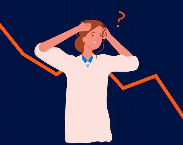 Kobieta w panice. upadłość, spowolnienie gospodarcze lub niepowodzenie w biznesie. menedżer boi się ilustracji wektorowych kryzysu finansowego. kryzysowe straty i depresja ekonomiczna awaria strzałki