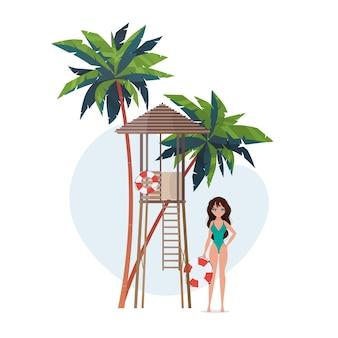 Kobieta w pobliżu boi ratunkowej. plaża ratownik dziewczyna w stroju kąpielowym. na banery.