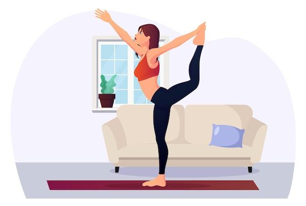 Kobieta w pozycji jogi w domu dla fitness i zdrowie ilustracja wektorowa premium