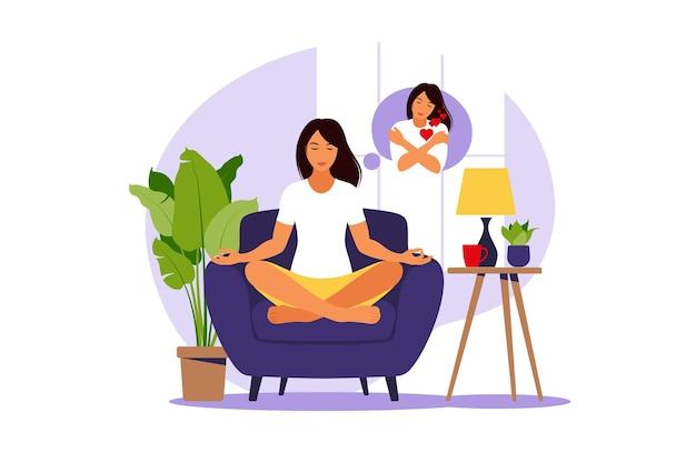 Kobieta w pozycji lotosu medytując o miłości