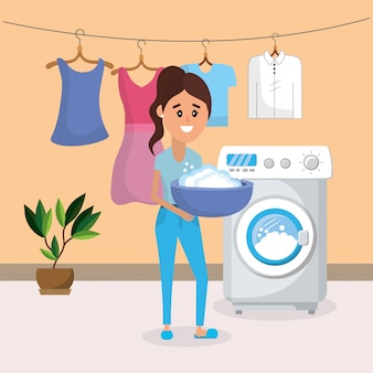 Kobieta w pralni