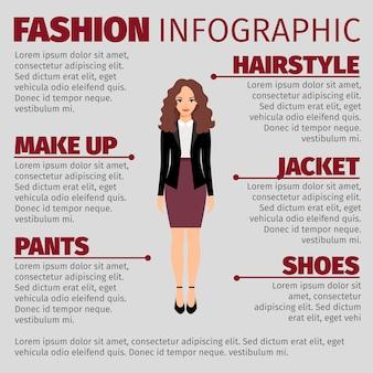 Kobieta w purpurowej spódnicy mody infographic szablonie