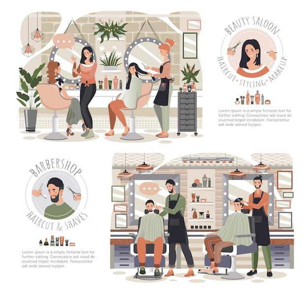 Kobieta w salonie piękności, mężczyzna w fryzjera męskiego sklepie, ludzie wektor ilustraci