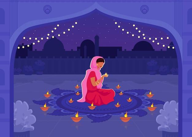 Kobieta w sari módlcie się płaski kolor ilustracji. święto diwali ze świecami diya. tradycyjna hinduska modlitwa świąteczna. indyjskie żeńskie postaci z kreskówek 2d z pejzażem miejskim w tle