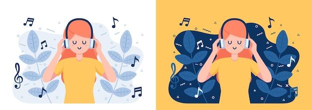 Kobieta w słuchawkach słuchająca i ciesząca się muzyką