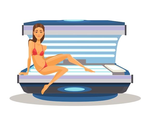 Kobieta w solarium płaskiej kreskówki ilustracja